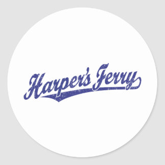 Harper's Ferry script logo in blue distressed Stickers