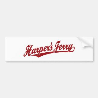 Harper's Ferry script logo in red Bumper Stickers