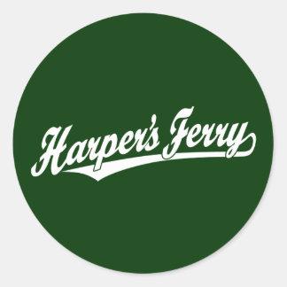 Harper's Ferry script logo in white Round Sticker