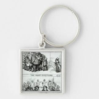 Harper's Weekly' Silver-Colored Square Key Ring