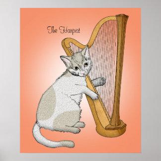 Harpist Calico Cat Poster
