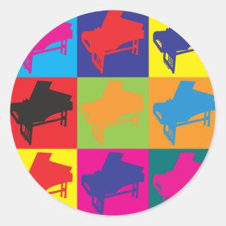 Harpsichord Pop Art Round Sticker