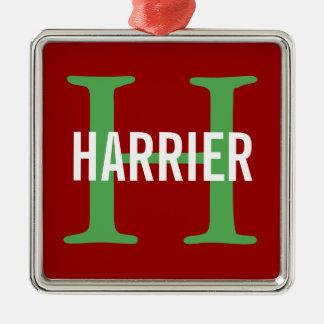 Harrier Breed Monogram Design Silver-Colored Square Decoration