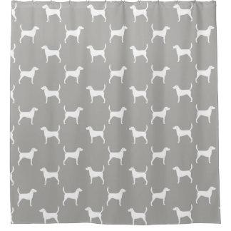 Harrier Dog Silhouettes Pattern Shower Curtain