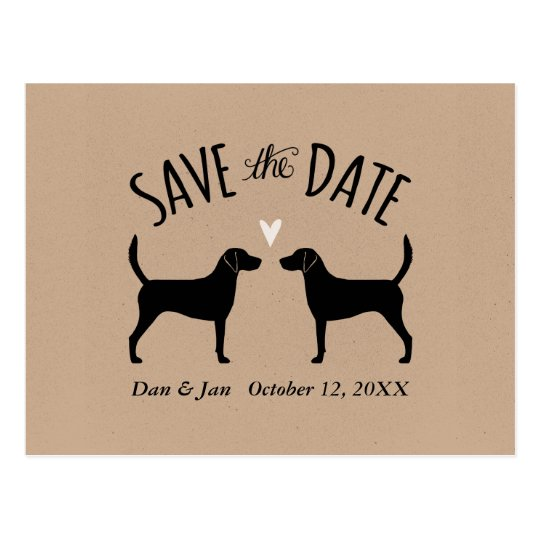 Harrier Dog Silhouettes Wedding Save the Date Postcard