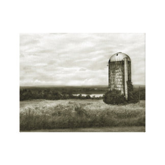 Harrier Hill Field and Silo B&W Wrapped Canvas Gallery Wrap Canvas