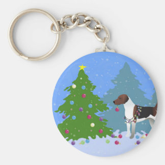 Harrier or Beagle Decorating a Christmas tree Basic Round Button Key Ring