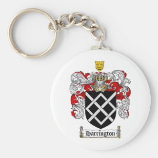 HARRINGTON FAMILY CREST -  HARRINGTON COAT OF ARMS BASIC ROUND BUTTON KEY RING