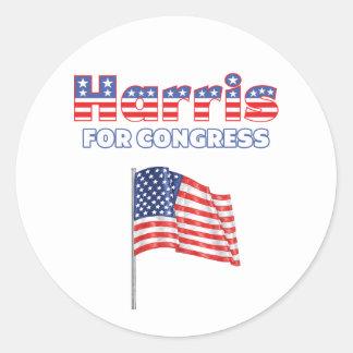 Harris for Congress Patriotic American Flag Design Round Sticker