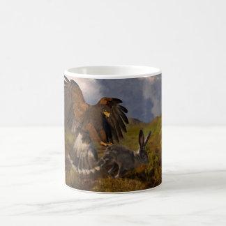 Harris Hawk and Jackrabbit - acrylic Basic White Mug