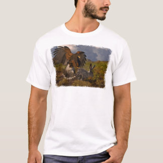 Harris Hawk and Jackrabbit - acrylic T-Shirt