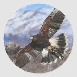 Harris Hawk- pastel Classic Round Sticker