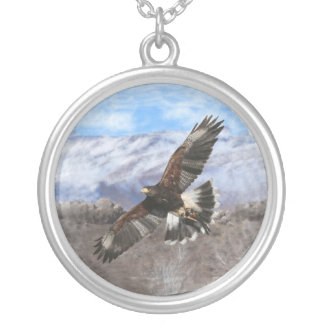 Harris Hawk- pastel Silver Plated Necklace