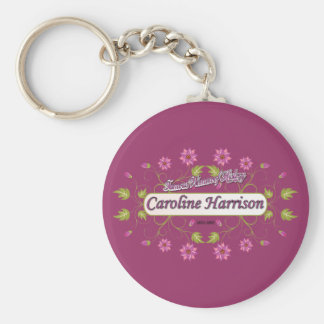 Harrison ~ Caroline ~ Famous American Women Basic Round Button Key Ring
