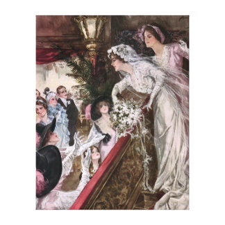 Harrison Fisher: Catch the Bridal Bouquet Gallery Wrapped Canvas