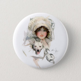 Harrison Fisher Girl  and Her Dog 6 Cm Round Badge