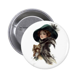 Harrison Fisher Girl  in a Teal Hat 6 Cm Round Badge