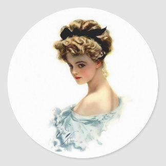 Harrison Fisher Girl  in Blue Classic Round Sticker