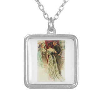 Harrison Fisher Girl When Man Marries To the Ball Square Pendant Necklace