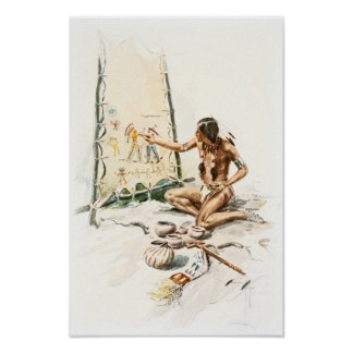 Harrison Fisher Song Hiawatha Red Indian Painting Poster
