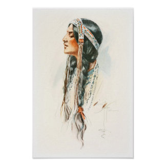 Harrison Fisher Song Hiawatha Red Indian Squaw 2 Poster