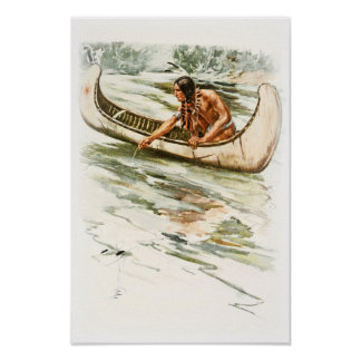 Harrison Fisher Song of Hiawatha Red Indian Canoe Poster