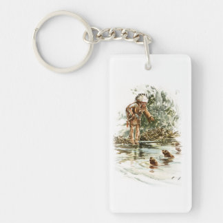 Harrison Fisher Song of Hiawatha Red Indian Otters Key Ring