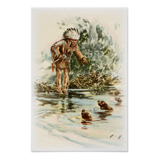 Harrison Fisher Song of Hiawatha Red Indian Otters Poster