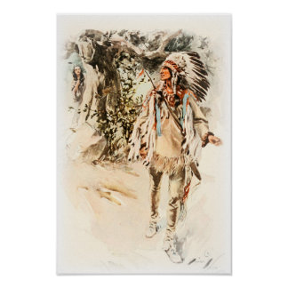 Harrison Fisher Song of Hiawatha Red Indian Poster