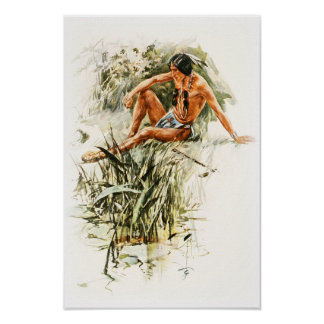 Harrison Fisher Song of Hiawatha Red Indian River Poster