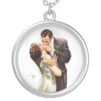 Harrison Fisher: The Kiss Round Pendant Necklace