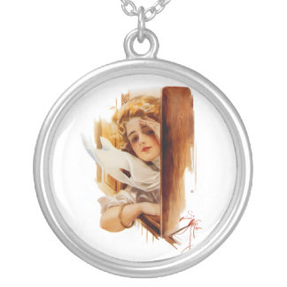 Harrison Fisher: Woman in Train Round Pendant Necklace