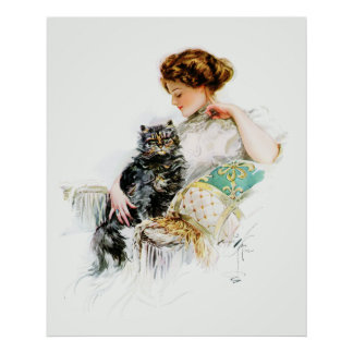 Harrison Fisher: Woman with Cat Poster