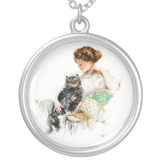 Harrison Fisher: Woman with Cat Round Pendant Necklace