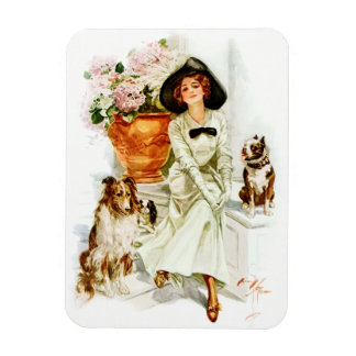 Harrison Fisher: Woman with three Dogs Magnet