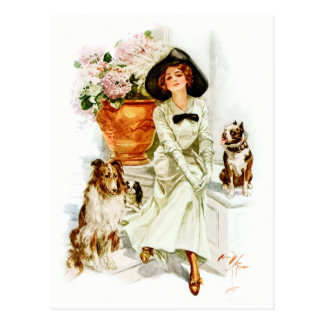 Harrison Fisher: Woman with three Dogs Post Card