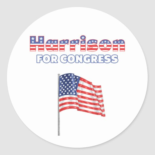 Harrison for Congress Patriotic American Flag Round Stickers