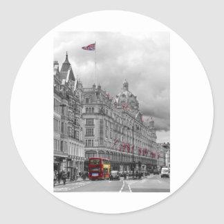Harrods of Knightsbridge bw hdr Round Sticker