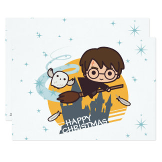 Harry and Hedwig Flying Past Hogwarts Christmas 13 Cm X 18 Cm Invitation Card