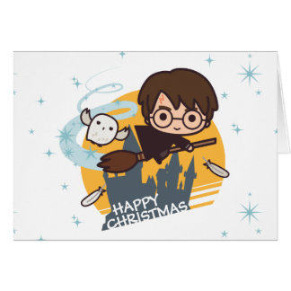 Harry and Hedwig Flying Past Hogwarts Christmas Greeting Card