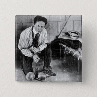 Harry Houdini About to Escape from Prison 15 Cm Square Badge