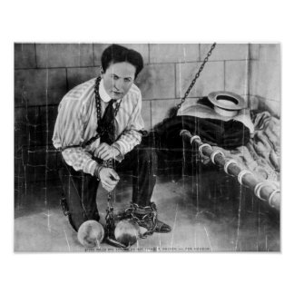 Harry Houdini About to Escape from Prison Poster