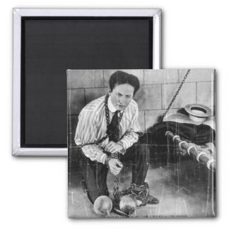 Harry Houdini About to Escape from Prison Square Magnet