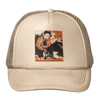 HARRY HOUDINI Black and Orange Art Illustration Trucker Hat