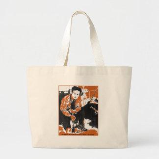 HARRY HOUDINI Black and Orange Art Illustration Canvas Bags