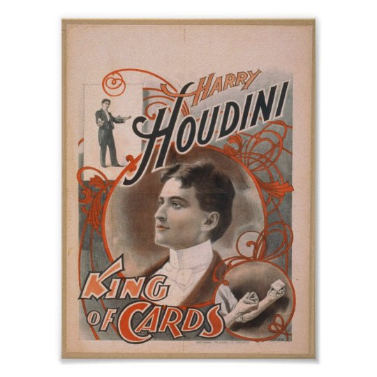 Harry Houdini, 'King of Cards' Vintage Theatre Poster