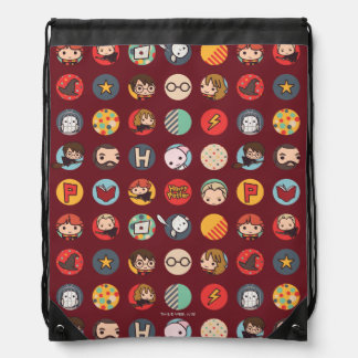 Harry Potter Cartoon Icons Pattern Drawstring Bag