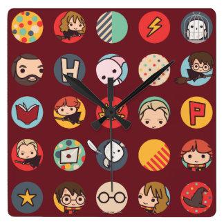 Harry Potter Cartoon Icons Pattern Square Wall Clock