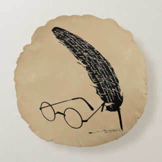Harry Potter   Glasses And Quill Round Cushion