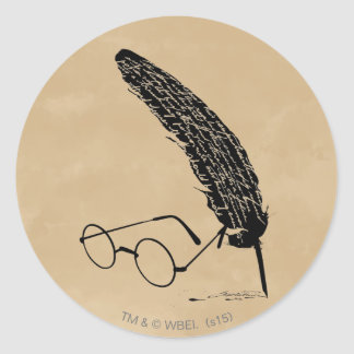 Harry Potter | Glasses And Quill Round Sticker